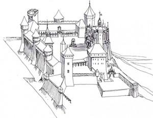 """3) Château comtal et ducal de Chambery. (XIII° - XVI° s.), un château fort qui découvre le luxe dès le XV° siècle, deux incendies ont failli le détruire aux XVII° et XVIII° siècle, il a été sauvé par l""""administration."""