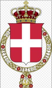"""Surmontée par la Croix de Jérusalem et la couronne royale, la Croix de Savoie est ceinturée par le grand collier de l'ordre de l'Annonciade avec ses roses et ses """"lacs""""."""