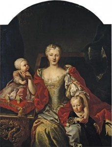 Polissena_Cristina_d'Assia_with_her_children_Victor_Amadeus_III_and_Eleonora_of_Savoy,_Martin_van_Meytens