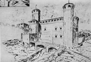 """3b) Le château turinois dit """"Fibellona"""" actuellement palais Madame avant son réaménagement de XVII° s."""