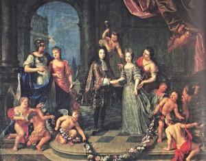 Tableau symbolique du mariage d'Adélaide de Savoie avec le duc de Bourgogne, petit-fils de Louis XIV.